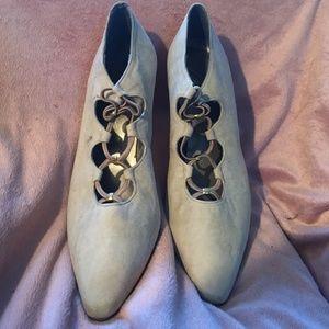 Vintage Carissa Leather Heels, Suede finish 9M